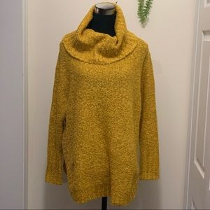 Faded Glory Knit Cozy Boulce Cowl Neck Breathable Chic Septre Gold Sweater Top